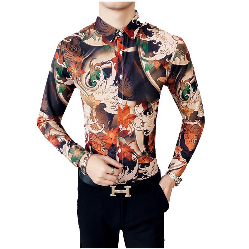 Uomo Fiori Camicie Da Con Maniche Acquista Lunghe A uOTwkZlXiP