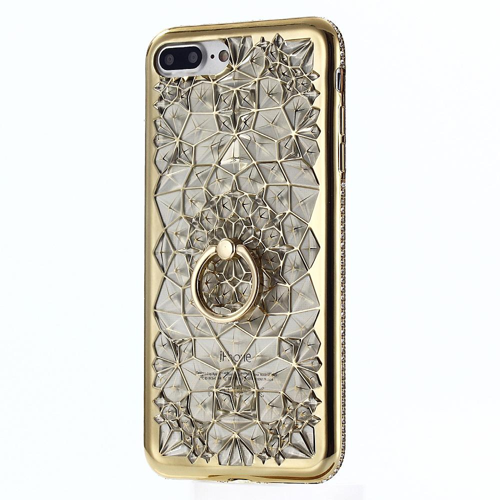 Rhinestone Case Ring KickStand Mobile phone Case For Samsung S9 Plus Bling Diamond 3D Soft TPU Backcover For Galaxy S8 S7 edge Note8