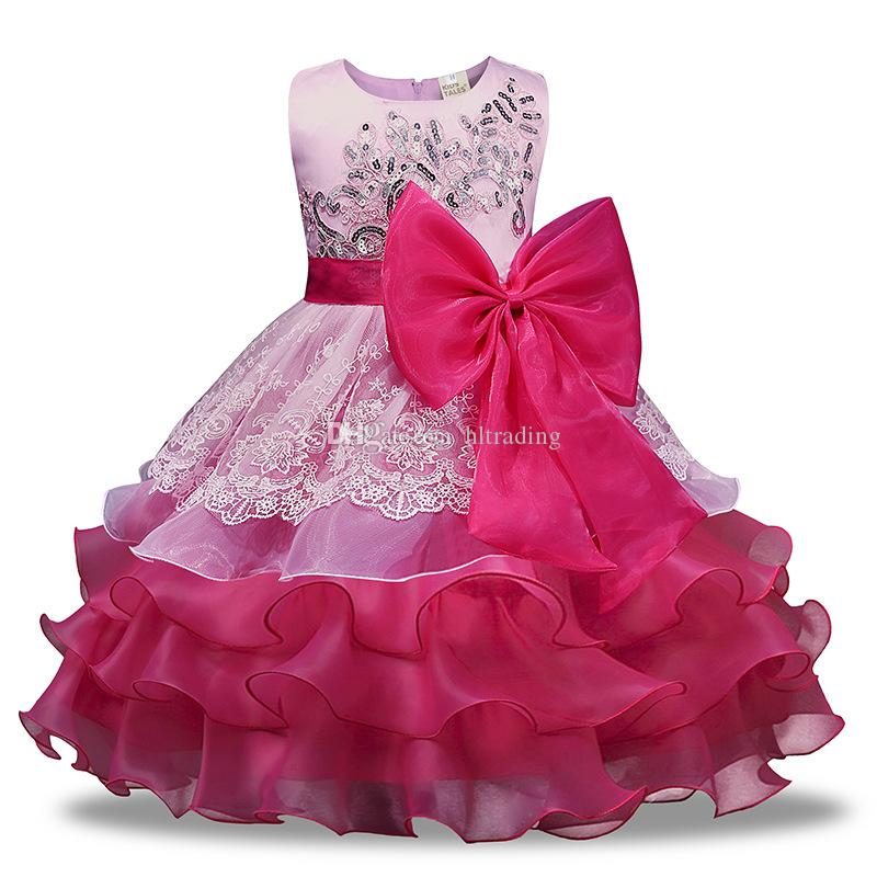 Baby girls big Bow lace TuTu dress Children Sequins cupcake princess dresses 2018 new Boutique Kids Clothing Ball Gown C3687
