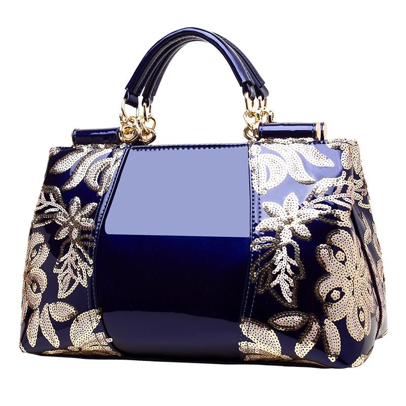 2018 Embroidery Ladies  Genuine Leather Handbag Luxury Handbags Women Bags  Designer Patent Leather Ladies Office Bags Handbags Messenger Bags For Women  ... de656d1380977