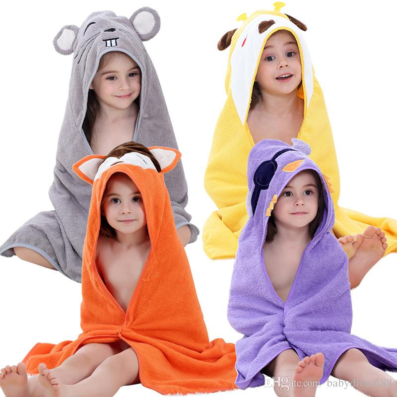 Wholesale Unisex baby cartoon animal bathrobe Cartoon cloak fox giraffe yellow dog cotton Beach cloak baby bath towel 90*90CM free shipping