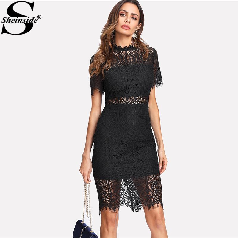 e5968471115 Sheinside 2018 Party Dress Black Stand Collar Short Sleeve Plain Eyelash  Lace Dress Women Elegant Scallop Trim Midi Dress D1891301 Evening Dresses  With ...