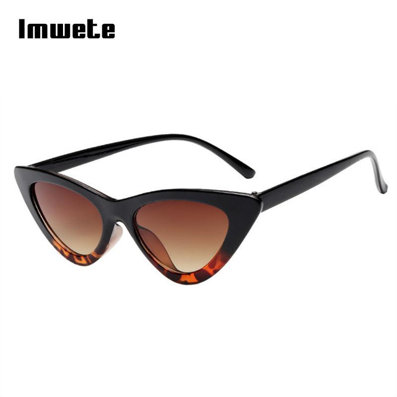 f6eece0eb8 Compre Imwete Gafas De Sol Pequeñas Mujeres Ojo De Gato Marco Triángulo  Retro Vintage Gafas De Sol Diseñador De La Marca Ocean Film UV400 Shades  Eyewear A ...