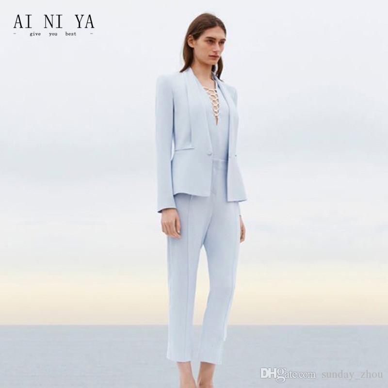 e4c503b3c953 Acquista Giacca + Pantaloni Signora Business Suit Light Azzurro Ms. Office Uniform  Pantaloni Da Donna Da Donna Set Da 2 Pezzi A  113.57 Dal Sunday zhou ...