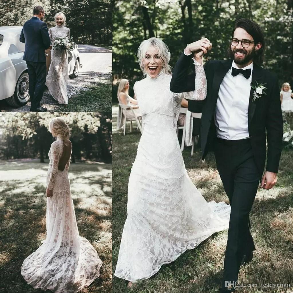 Vintage Lace Long Sleeve Bohemian Farm Wedding Dresses 2018 Modest ...