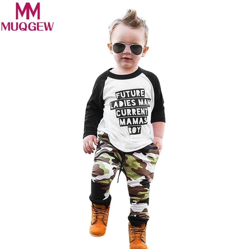 eae4bc48 2019 MUQGEW Toddler Infant Baby Letter Long Sleeve T Shirt +Camouflage Pants  Outfits Clothes Cool Baby Boys Girls Boutique Kids Suit From Xunqian, ...