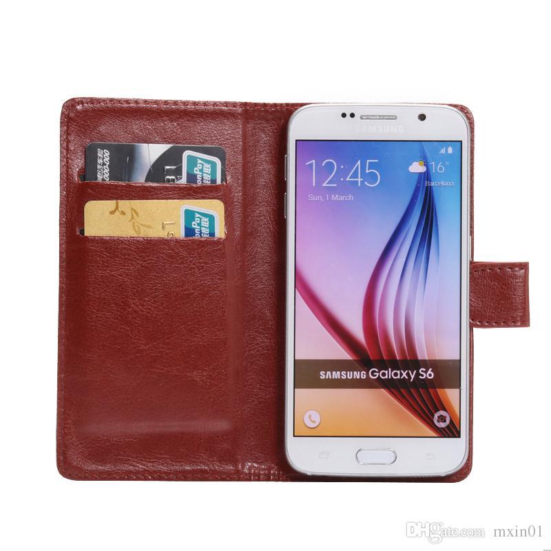Universal Crazy Horse 360 Rotation Téléphone Portefeuille PU Flip Étui En Cuir Pour 3.8 6,3 pouce iPhone Samsung LG HTC Nokia Sony Huawei XiaoMi Alcatel