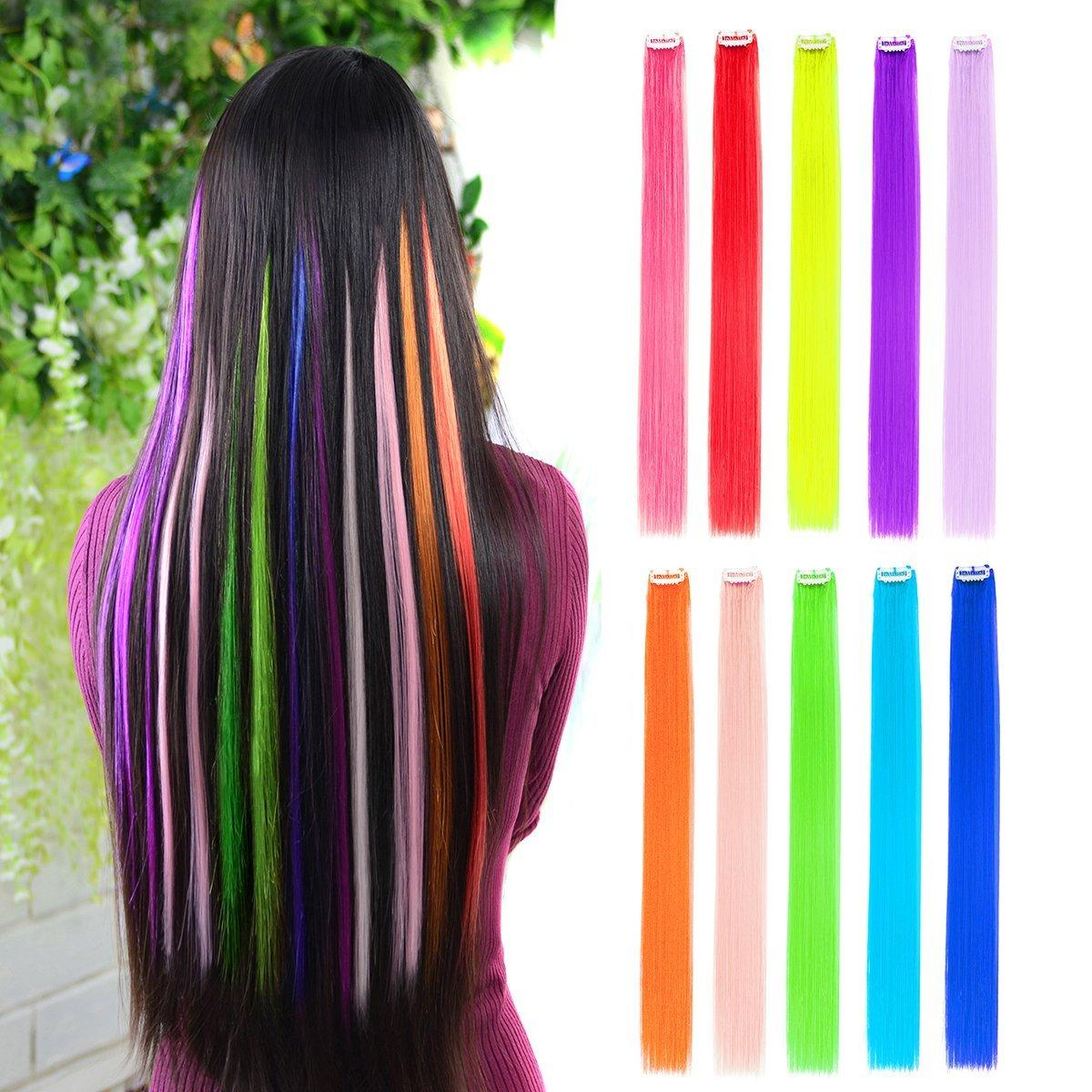 Colored Clip In Hair Extensions 22 Straight Fashion Hairpieces For