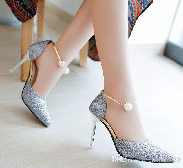 d1c2d07f4a6 Summer New Style Pearl Buckle Korean Pointed High Heels Silver With Fine  With Gold Bridesmaid Shoes LEIKUAN Boots Shoes White Mountain Shoes From  Charm2020