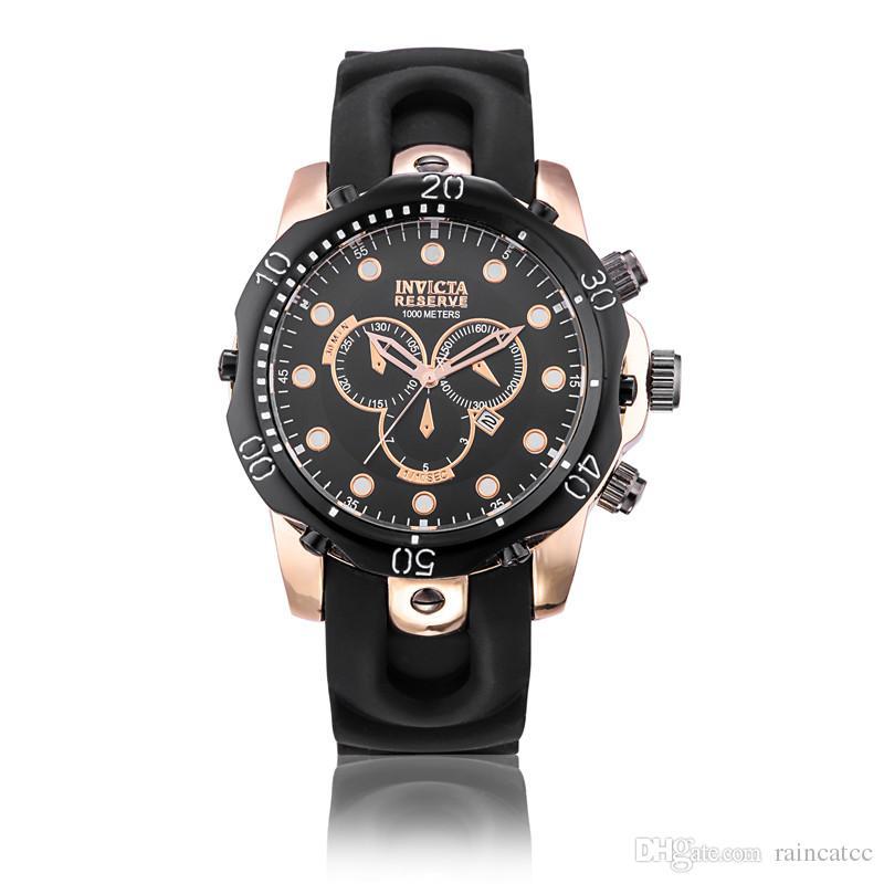 b151c57524d Compre 2018 Novo INVICTA Relógio De Pulso De Aço Inoxidável Suíço Rose Gold  Quartz Watch Men Esporte Militar DZ Relógios Silicone Strap Calendário Do  ...