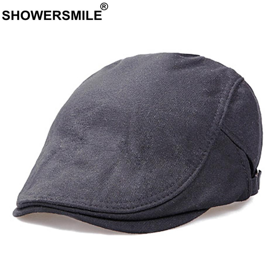 2019 SHOWERSMILE Mens Black Beret Vintage Adjustable Casual Ivy Duckbill  Hat Women Solid Classic Cotton Male Flat Cap Hat New Fashion From Cupwater 2f264dd0215