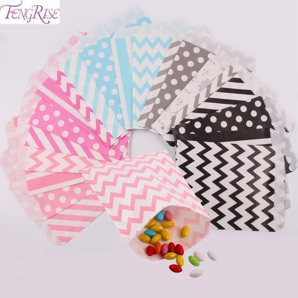 Wholesale Fengrise 5x7 Inch Kraft Paper Bag Chevron Popcorn Candy ...