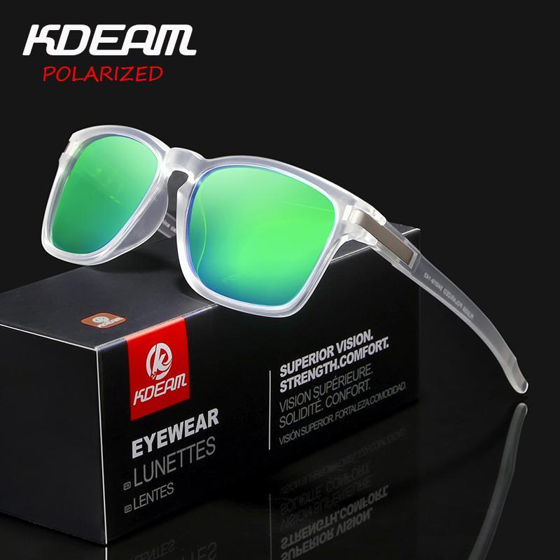 2c2aa89180 Compre Kdeam Chegada New Sport Óculos De Sol Óculos Polarizados Lente Do  Espelho Anti Reflexivo Homens Óculos De Sol Quadrado Ao Ar Livre Uv400  Proteção ...
