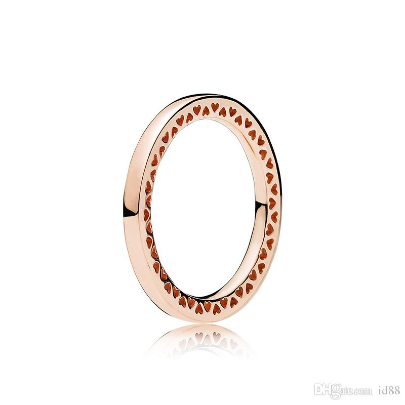 1e22642a3d225 Real 925 Sterling Silver Band Rings with LOGO Original box for Pandora  heart 18K Rose gold Women Men Ring