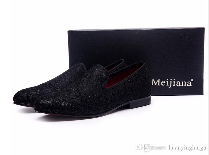 2018 estilo Hot estilo britânico camurça homens mocassins com festa de casamento preto homens sapatos casuais somking chinelos homens apartamentos Slip On Trend Shoes N24