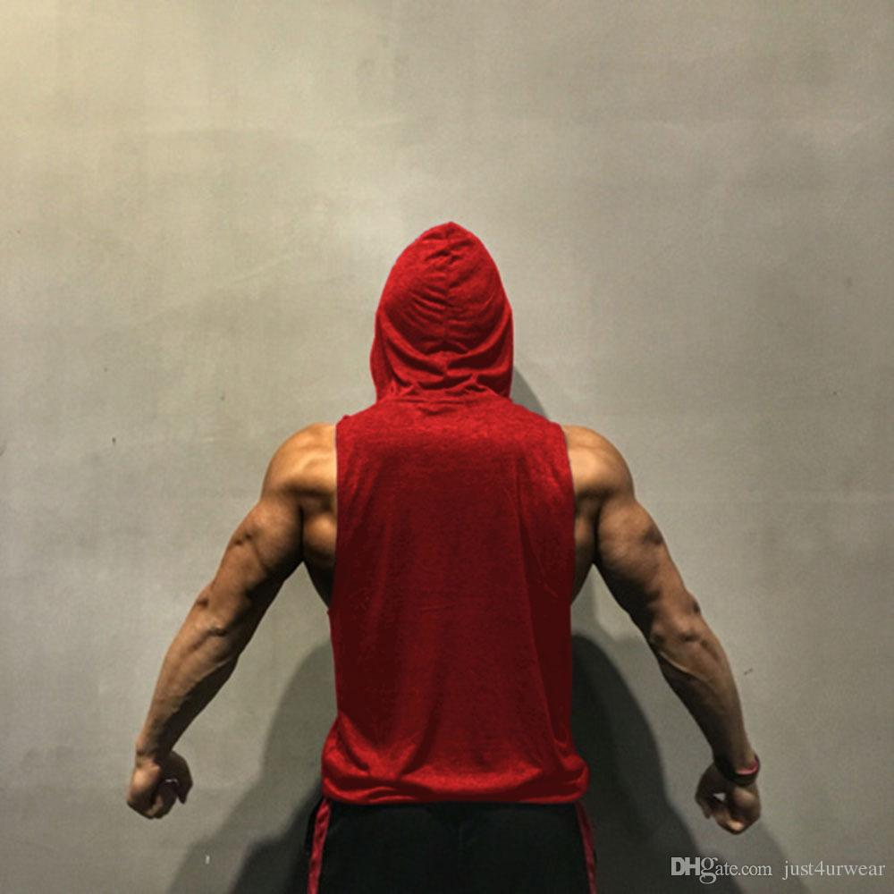 GYM Letras Imprimir Tank Tops Hombres Athletic Fitness Chaleco ocasional sin mangas con capucha Loose tEE Summer Clothing Tops