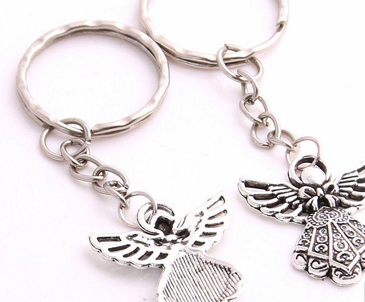 Fashion Key Ring Keychain Jewelry Silver Plated Angel Charms Jewelry Diy
