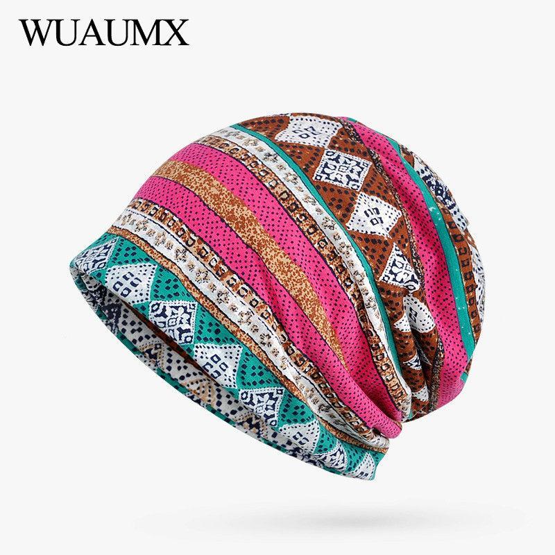 f1678d23375 2019 Wuaumx Casual Beanies Hats Women Men Striped Print Multifunction  Turban Hip Hop Hedging Caps Skullies Beanies Cap 23 From Hcaihong