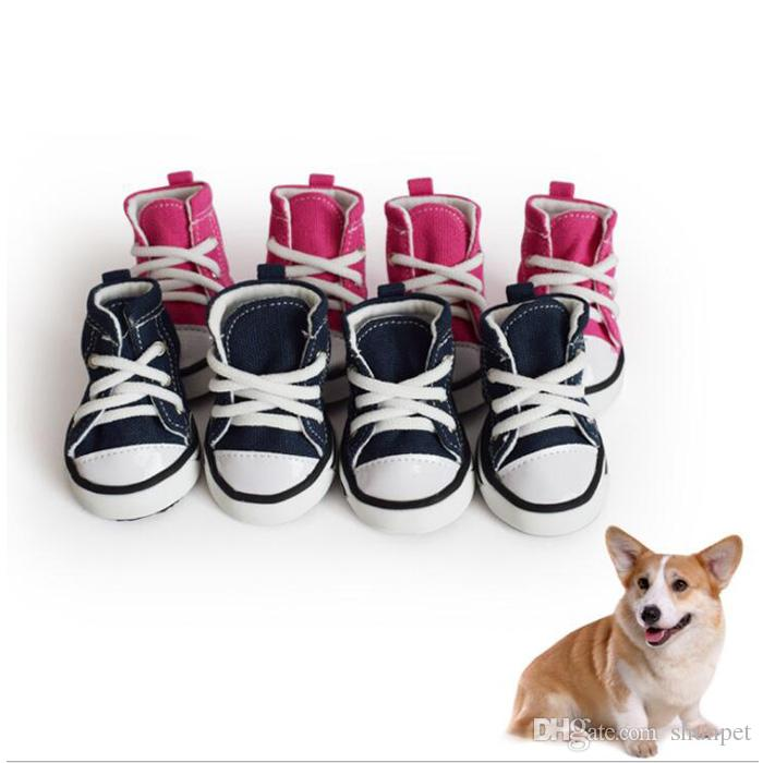 Grosshandel Denim Hund Schuhe Sport Anti Rutsch Sneaker Casual Pet