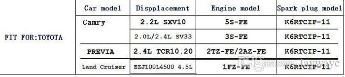 Iridium platinum Spark plug Velas del coche para toyota camry RAV4 rav 4 vios 2.0l 2.4l 1.5l engine Ignition