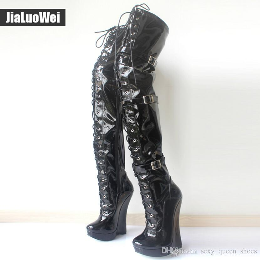 9d46bc04782 2018 New Women Wedge Ballet Boots Lace Up 18CM High Heeled Buckles Strap Pu  Leather Fashion Sexy Man Fetish Shoes Over The Knee Boot Military Boots  Walking ...