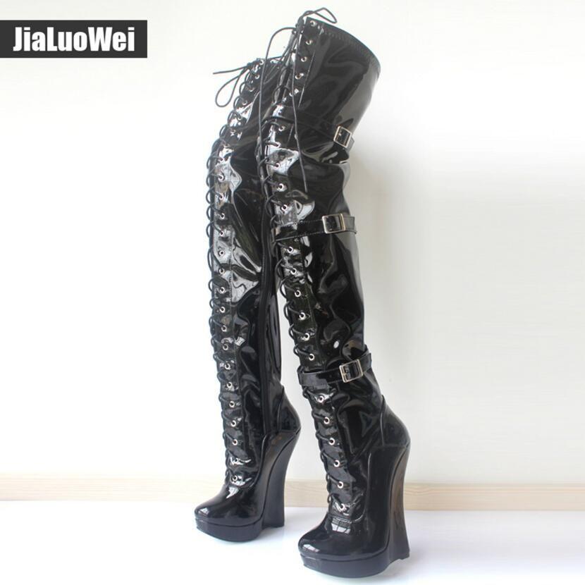 95e8c399 2018 nuevas mujeres cuña botas de ballet con cordones 18CM hebillas de  tacón alto correa Pu cuero moda sexy hombre fetiche zapatos sobre la  rodilla ...