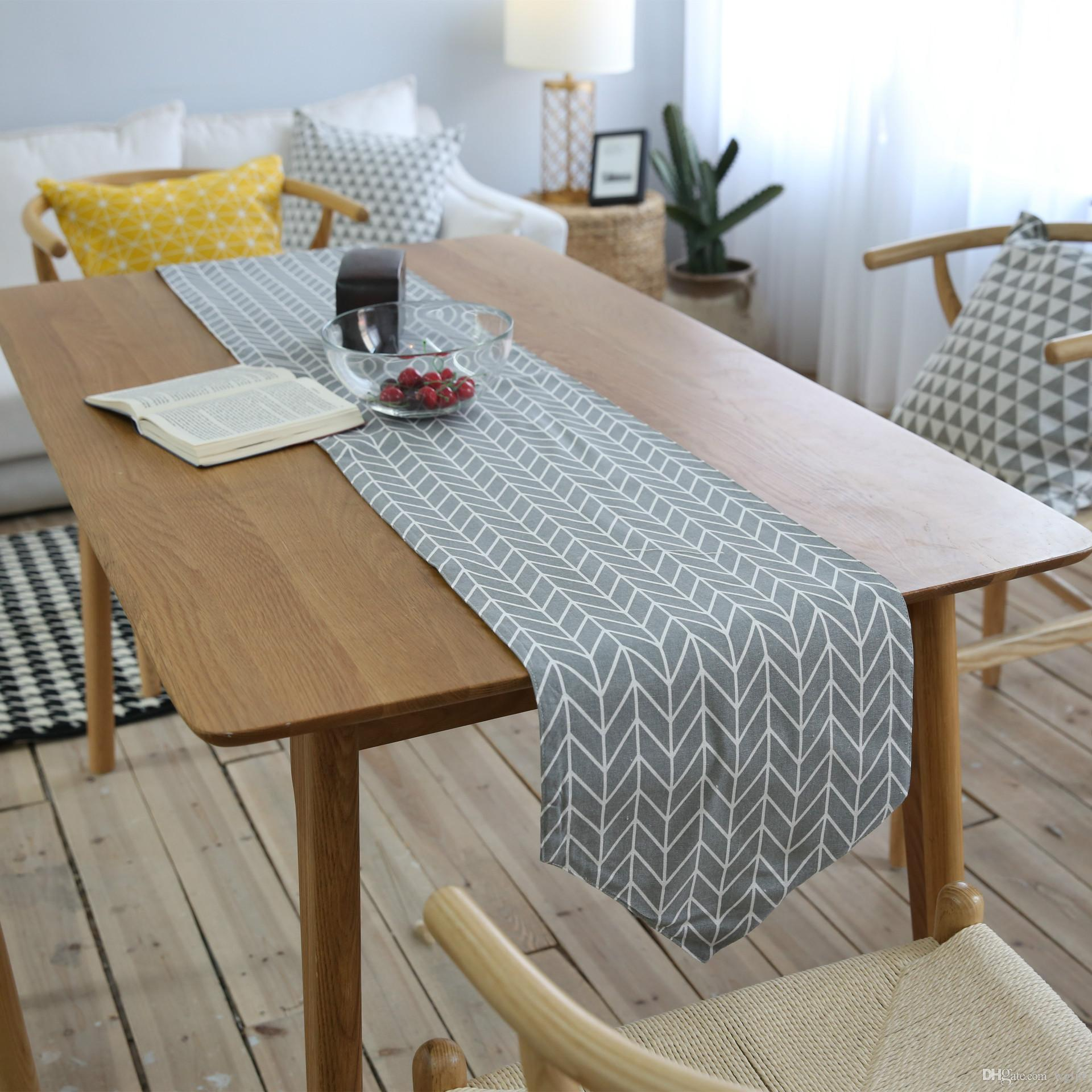Handmade Gray Arrows Nordic Cotton Linen Table Runner New Home ...