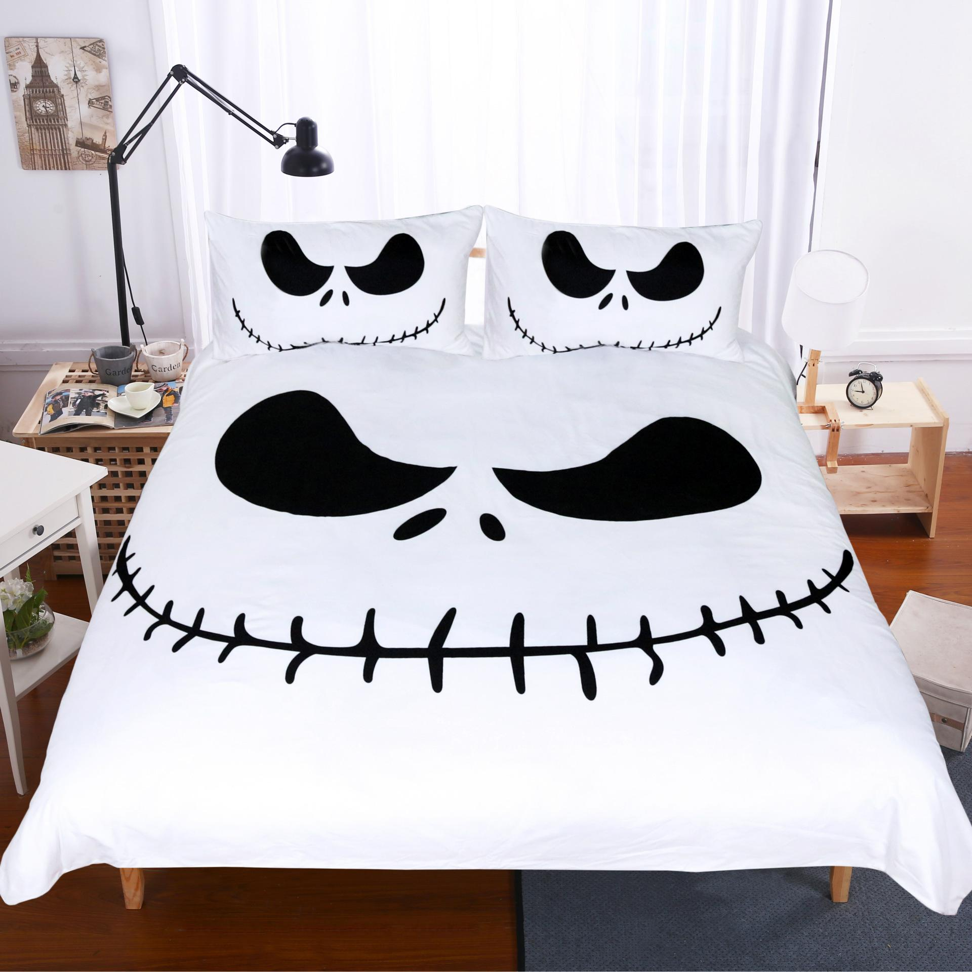 Acheter Happy Halloween Literie Set Cauchemar Noir Et Blanc Avant