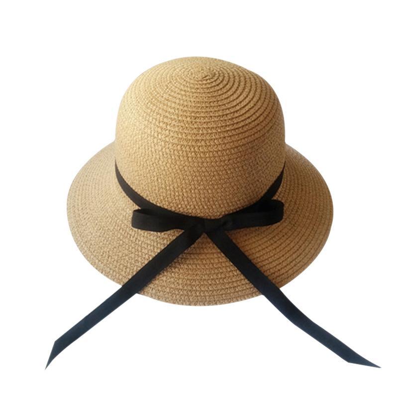 Compre Verão Do Vintage Fita Bowknot Chapéu De Sol Para As Mulheres Tampas  De Palha Com Grande Borda Branca Bege Praia Sun Viseiras Chapéus Sombrero  Anti UV ... d6acbeb83d4