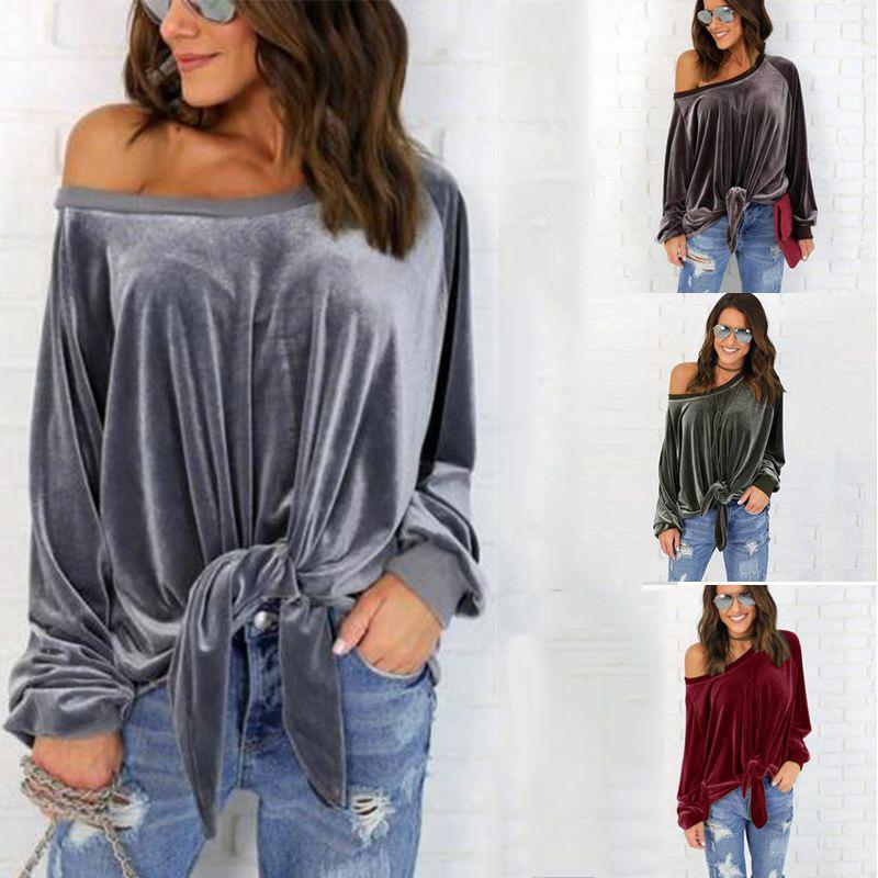 4b44a6e1173f9 2019 Fashion Women Clothing Designer Hoodie Sexy Off Shoulder Blouses Shirt  Female Spring Autumn Long Sleeve Solid Tunic Shirt Velvet Tops From  Vogo girls