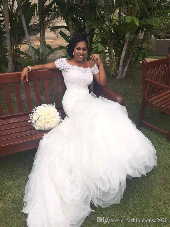 2018 African Mermaid Wedding Dresses Off Shoulder Cap Sleeves Lace Appliques Tiered Ruffles Court Train Organza Custom Formal Bridal Gowns