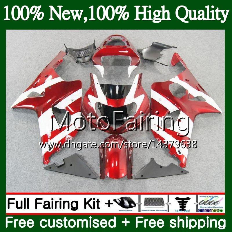 Cuerpo para SUZUKI GSXR 1000 CC K2 Rojo blanco GSX-R1000 00 02 28MF18 GSXR1000 00 01 02 GSXR-1000 GSX R1000 2000 2001 2002 K2 Fairing Bodywork