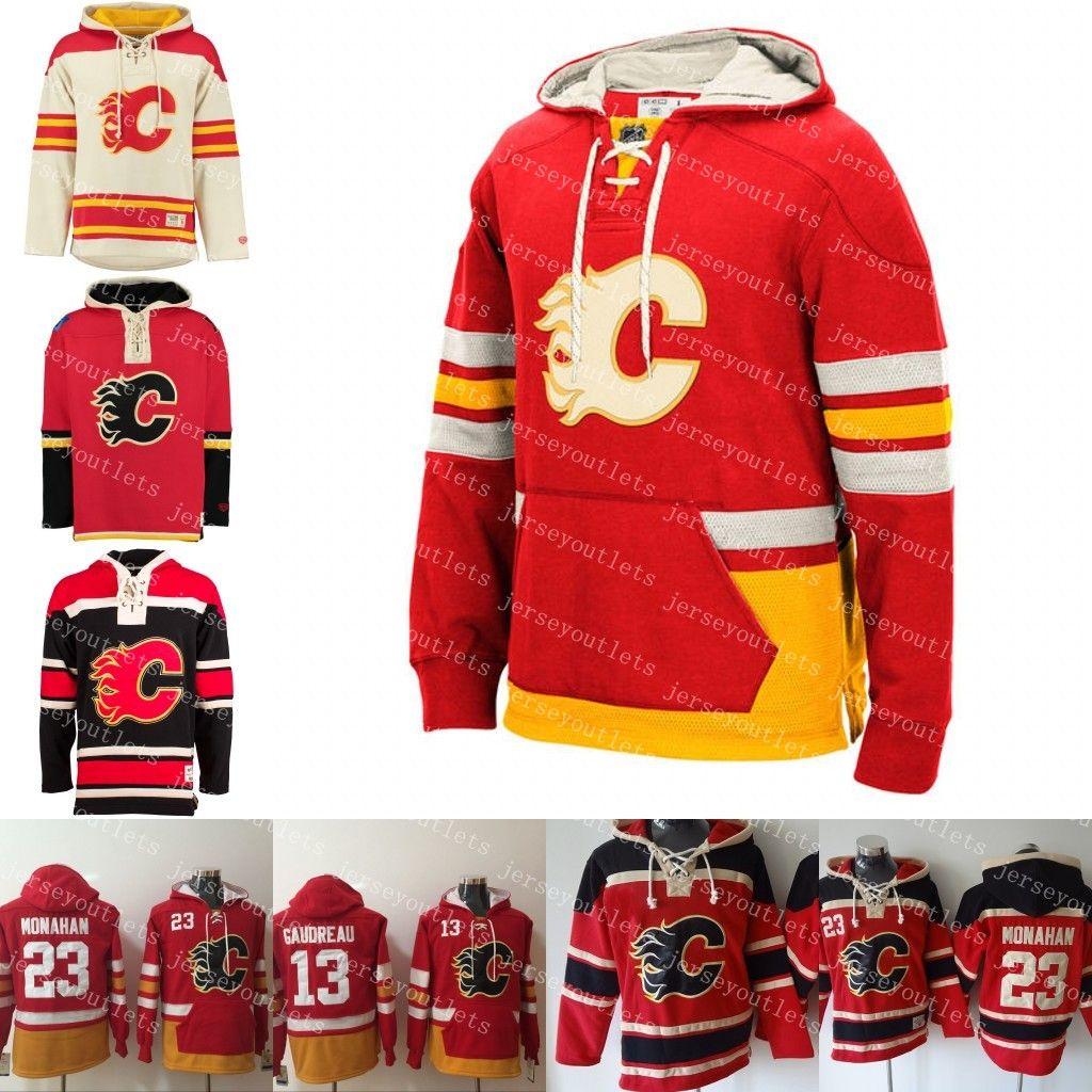 the latest a6f58 5da79 Mens Winter Calgary Flames 23 Sean Monahan 18 James Neal 13 Johnny Gaudreau  Custom Hoodie Old Time Hockey Hoodies Personalzied Sweatshirts