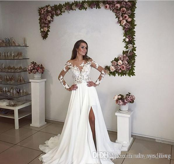 cba1b3f93a6e Discount 2018 White Wedding Dress Elegant Long Sleeves Chiffon Lace  Appliques Church Country Garden Bride Bridal Gown Custom Made Plus Size  Ivory Wedding ...