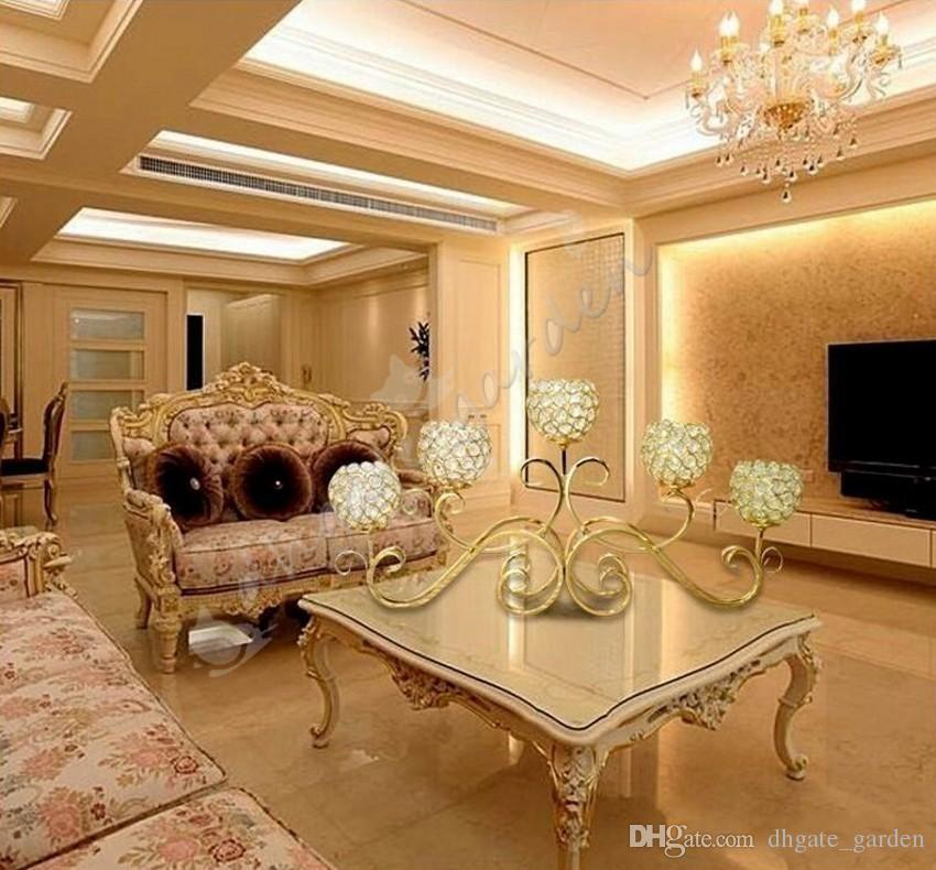 5 Kopf Metall Kerzenhalter Gold / Silber vergoldet Kerzenständer Kristall Tisch Candelabras Home Hotel Hochzeit Mittelstücke Dekoration