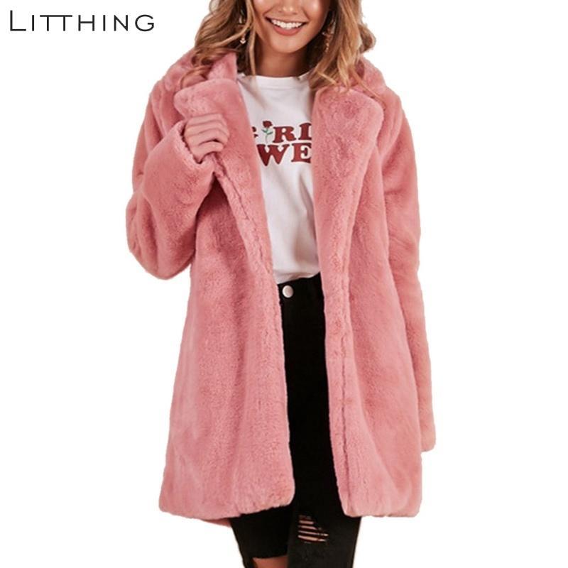 cc90cc7604 2019 LITTHING Women Faux Fur Coat Elegant Pink Shaggy Streetwear Autumn  Winter Warm Plush Teddy Coat Female Plus Size Overcoat Party From  Lvzhiclothes002, ...