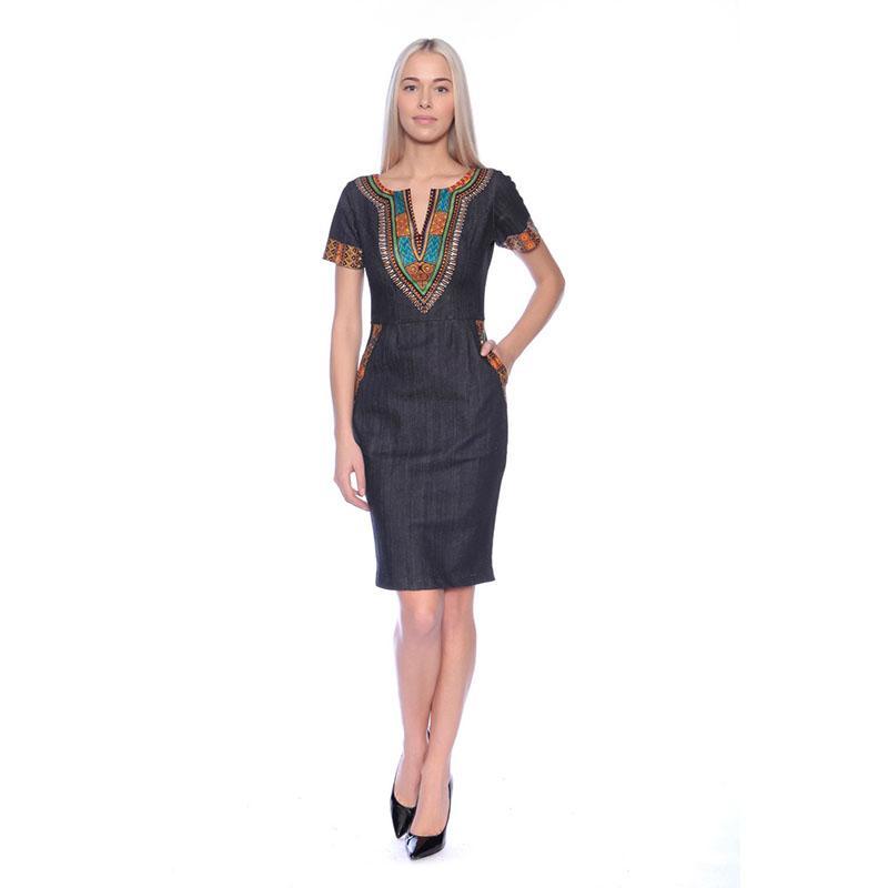 2018 nuevas mujeres vestido casual vestido estampado africano tradicional Dashiki Denim vestido de verano más tamaño del partido del vendaje vestidos ajustados
