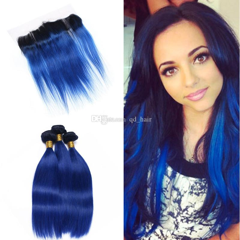 New Arrival Silky Straight 1B Blue Human Hair Weaves With Lace Frontal Two Tone Virgin Human Hair With Lace Frontal 13x4