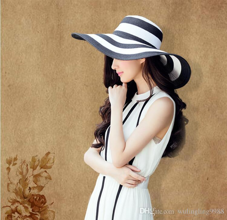Summer Women's Sun Hat Girl Classic Black and White Striped Vintage Wide Large Brim Straw Cap Stripe Beach Hat Women Suncreen Hats