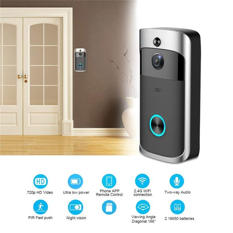 Smart Doorbell WIFI Video Doorbell HD 720P Security Camera Real-Time  Two-Way Audio Night Vision PIR Detection App Control for IOS Android