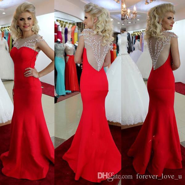Elegante prom dresses sirena rossa sheer gioiello collo senza maniche perline paillettes che borda impreziosito illusion torna piano lunghezza abito da sera