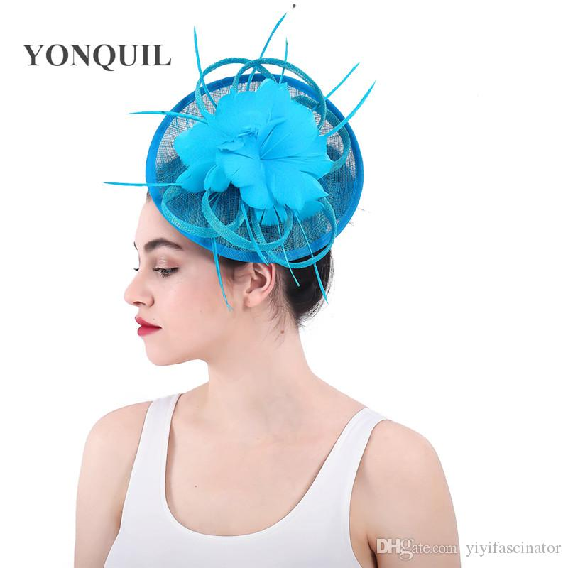 3c7eb0ff44fd2 Summer Turquoise Feather Flower Hair Fascinators Headband Sinamay Cocktail  Party Fashion Headpieces Women Elegant Fedora SYF327 Ivory Hat Ivory  Wedding Hats ...