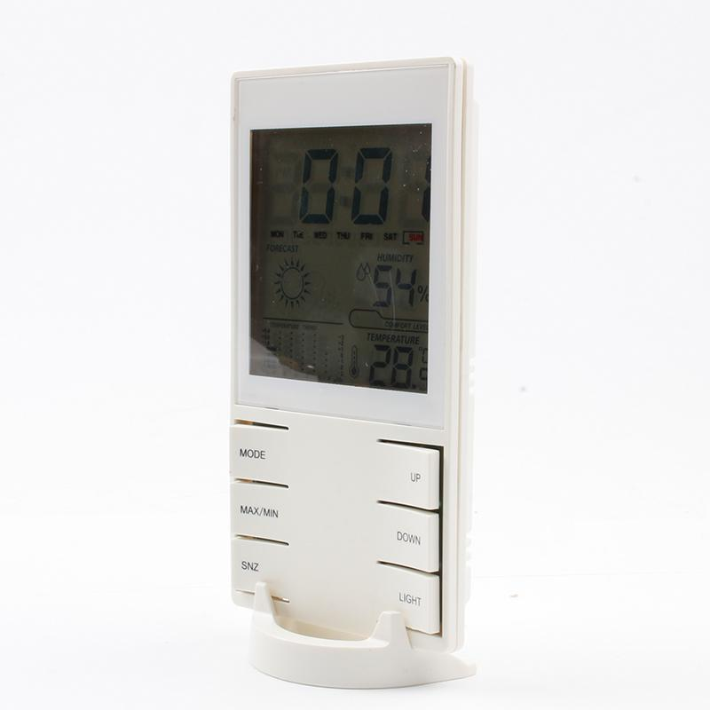 LCD Digital Thermometer Hygrometer Electronic Temperature Humidity Meter Weather Station Forecast Indoor Outdoor Thermometer Alarm Clock