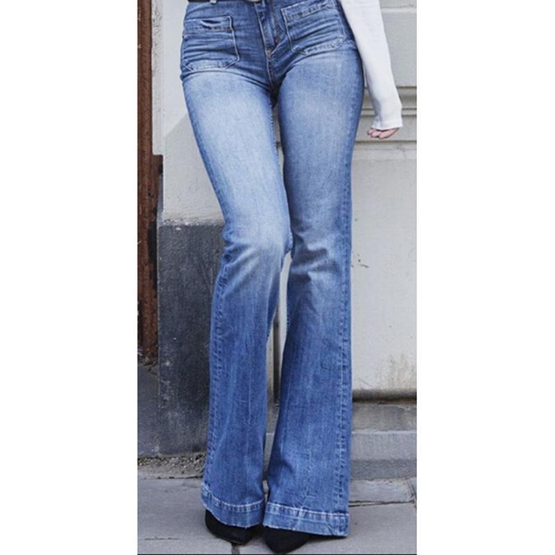 4233545a1 Vintage taille haute pantalon décontracté jambe large évasé Denim Jeans  Femmes Femme Mode pantalon long Bell Jeans Denim