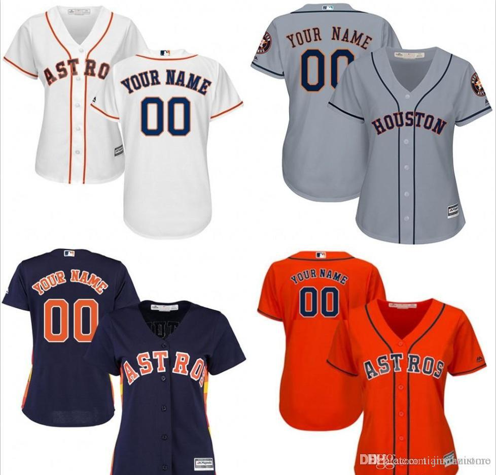2018 Women Hn Astros Custom Baseball Jersey Personalized Any Name Nama And Number Stitched Embroidery Logos Size S