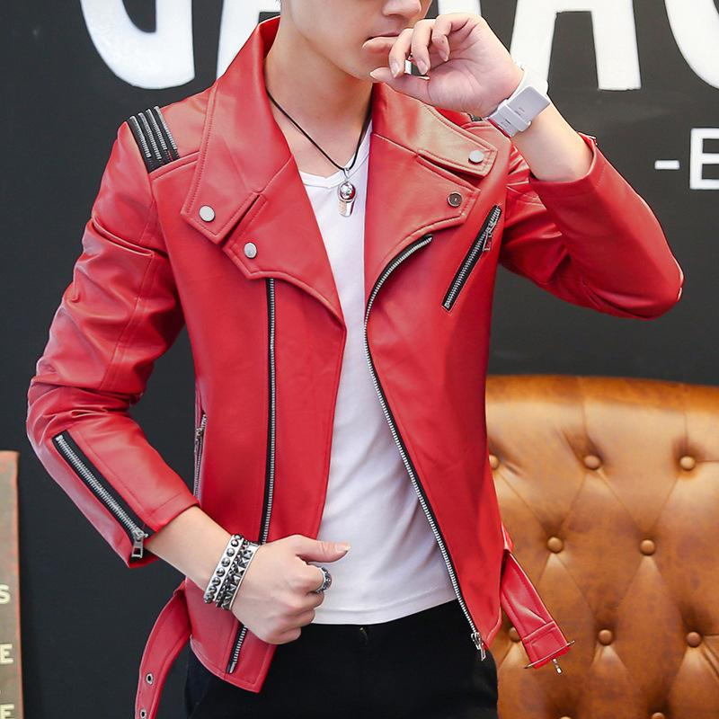 de3a352e4bbfc 2019 Mens Red Leather Jacket Motorcycle Jacket Young Men Slim Fit Zipper  Blazers For Boys US Fashion Style From Aaronliu880