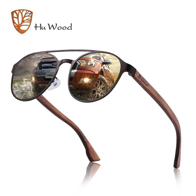 b44661b1ff Compre HU Madera Gafas De Sol Polarizadas Madera Bisagra De Resorte Marco  De Acero Inoxidable Gafas De Sol De Mujer Para Hombres Lente UV400  Protección ...