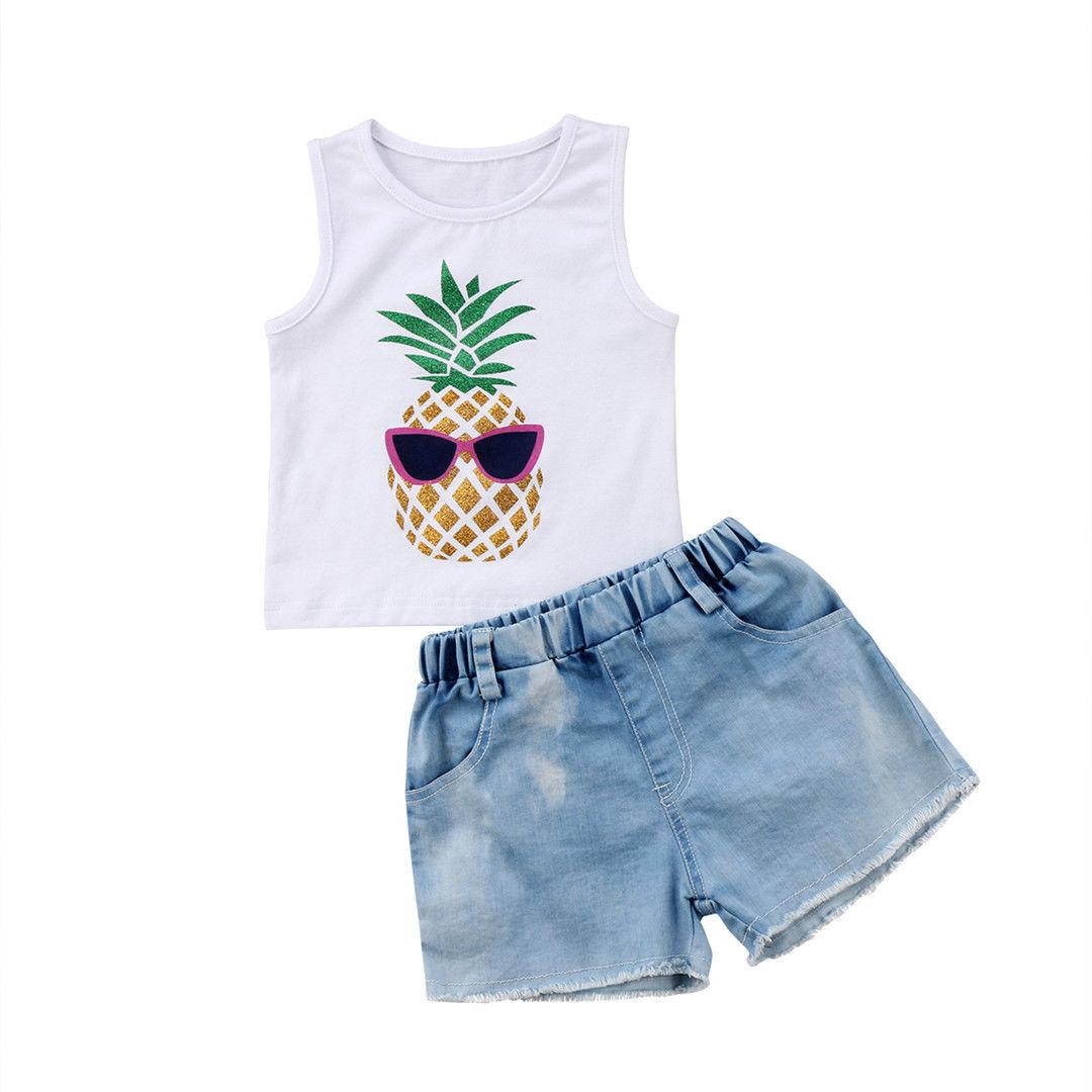 9dfab7aa28 2019 Kid Children Baby Girls Pineapple Tops T Shirt Denim Pants Shorts Outfit  Set Sleeveless Clothes 1 6Years From Fkansis