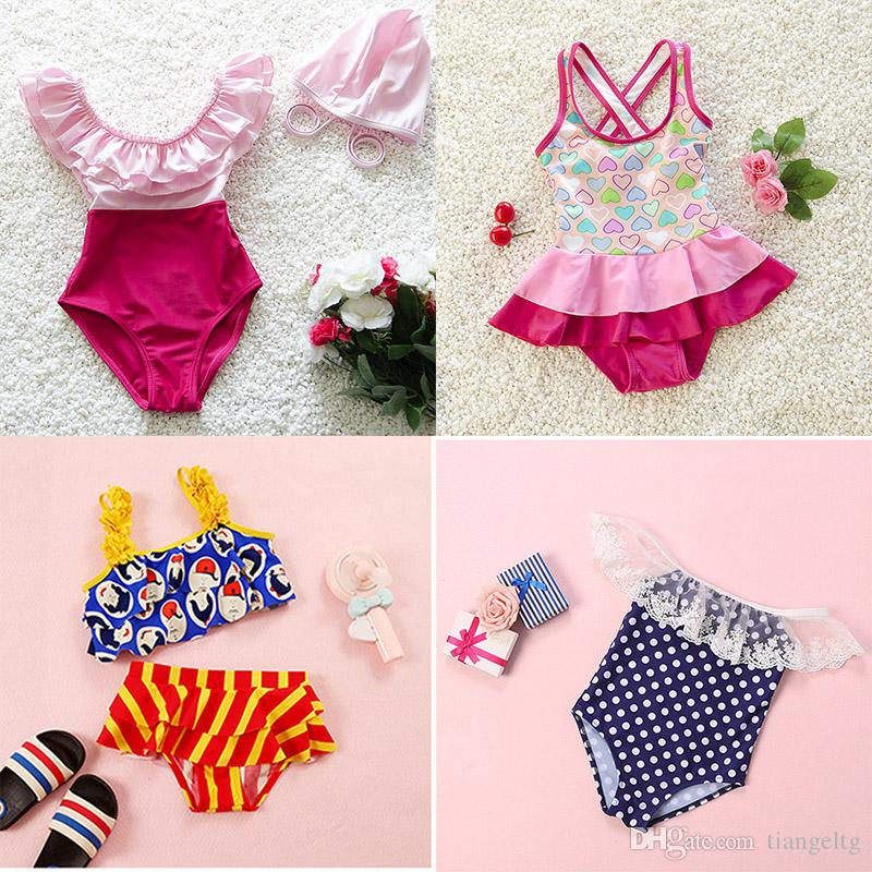 216ce12b5c116 Girls Swimwear 7 Designs Floral Printing Bikini One-piece Tankinis Swimwear  Girls Swimsuit Two-pieces Swim Clothes 2-10T Girls Bikini Girls Two-piece  ...