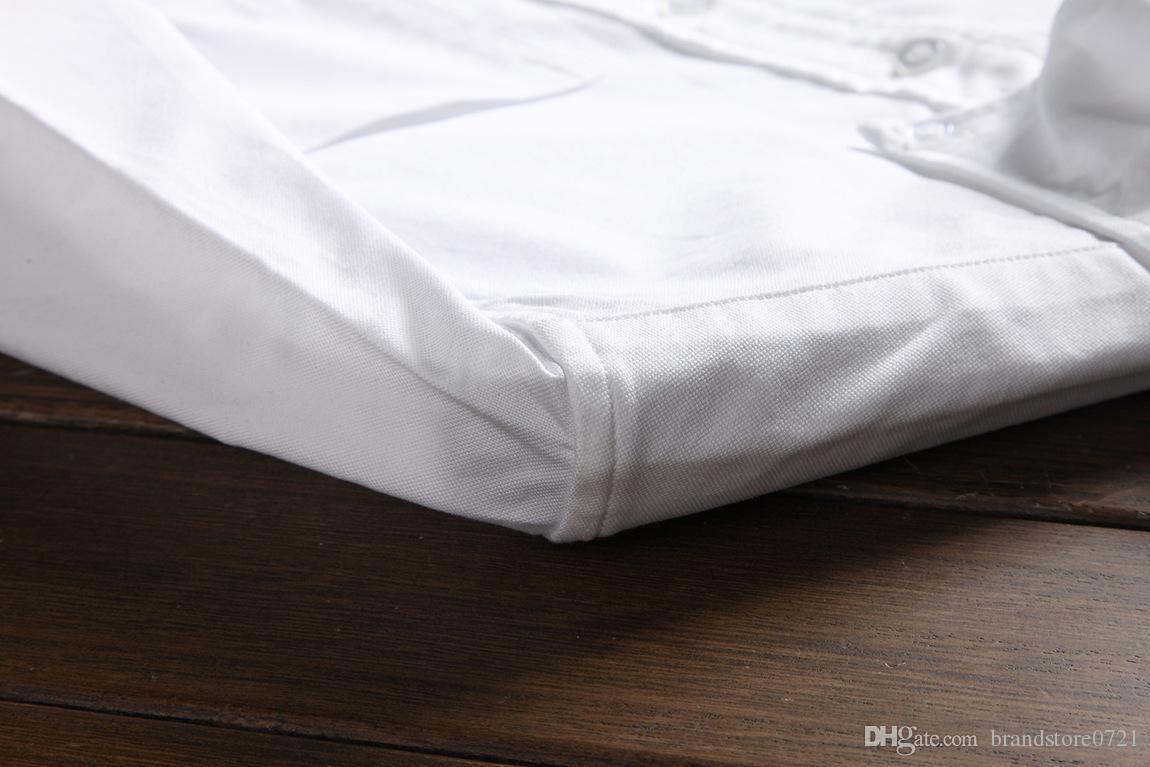 Camicia formale in cotone bianco a righe da uomo di lusso con maniche lunghe formali uomo con camicie t-shirt da uomo vestibilità regolare all'ingrosso D3